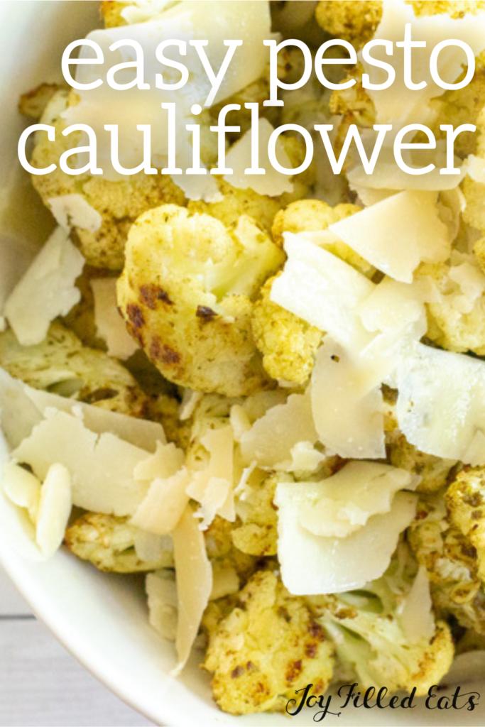 pinterest image for pesto cauliflower
