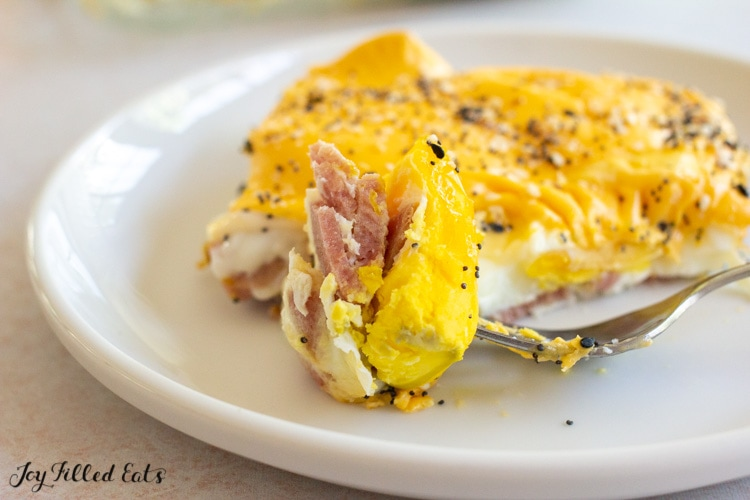 bite of taylor ham egg and cheese casserole on a fork