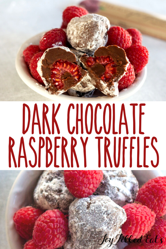 pinterest image for dark chocolate raspberry truffles