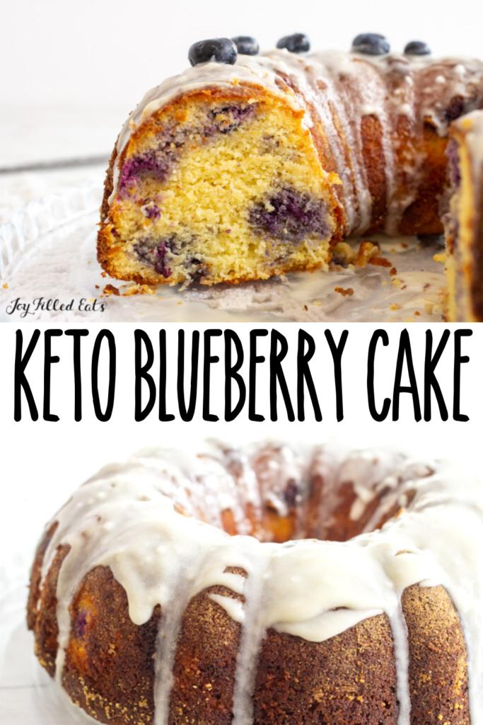 pinterest image for keto blueberry cake