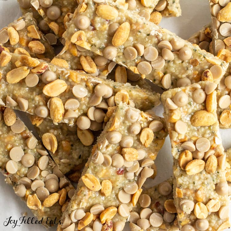 close up of a pile of keto protein bars