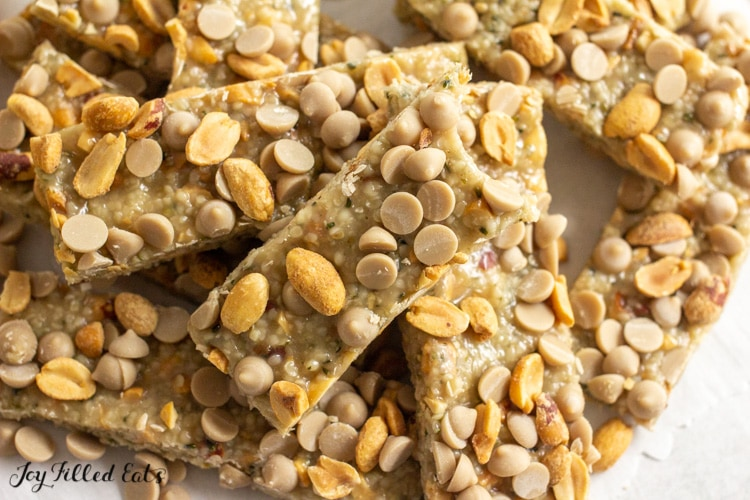 pile of no bake peanut butter keto protein bars