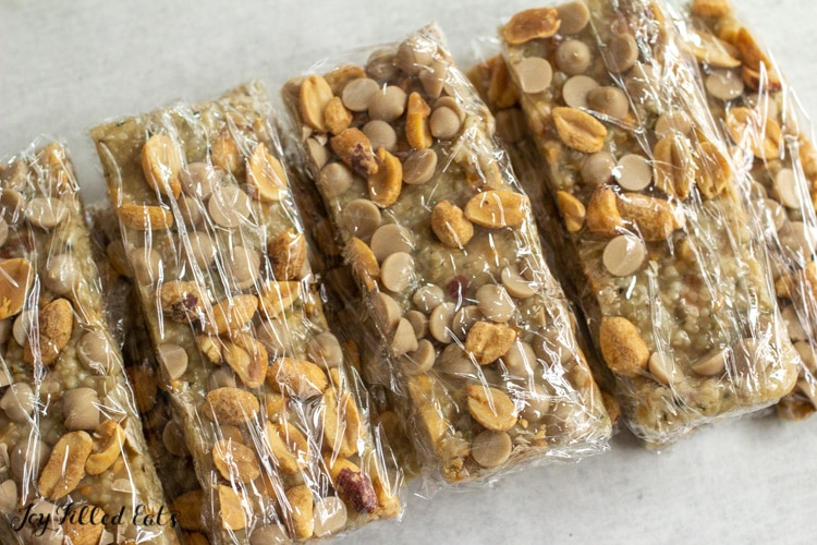 keto protein bars individually wrapped in plastic wrap
