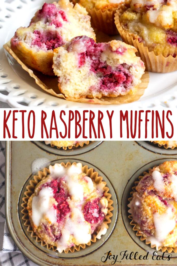 pinterest image for keto raspberry muffins