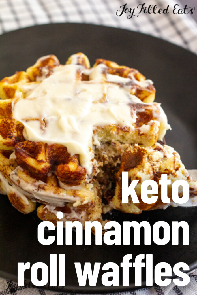 pinterest image for Keto cinnamon roll waffles
