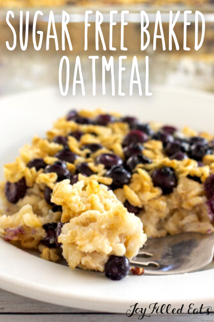 pinterest image for sugar free baked oatmeal