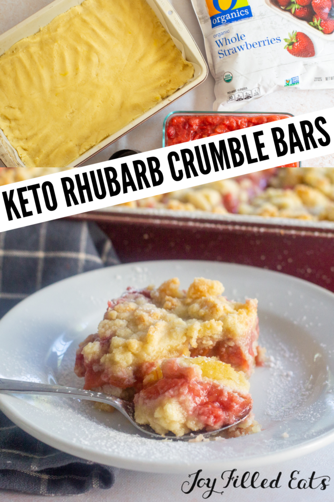 pinterest image for keto rhubarb crumble