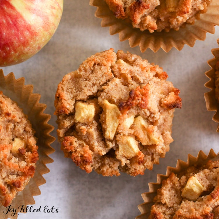 keto apple muffins with and without liners