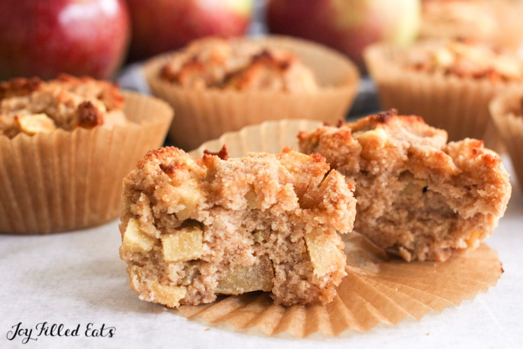 low carb apple muffin torn in half to show inside