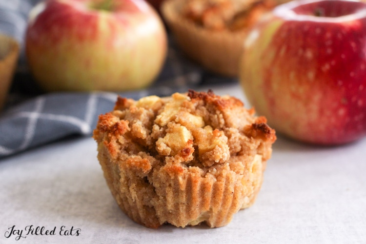 close up of one of the keto apple muffins