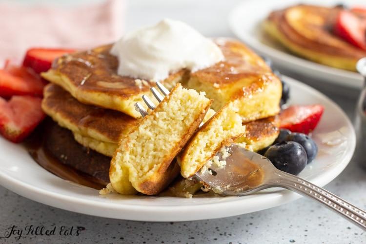 bite of pancake on a fork