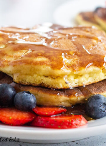 stack of keto pancakes with syrup