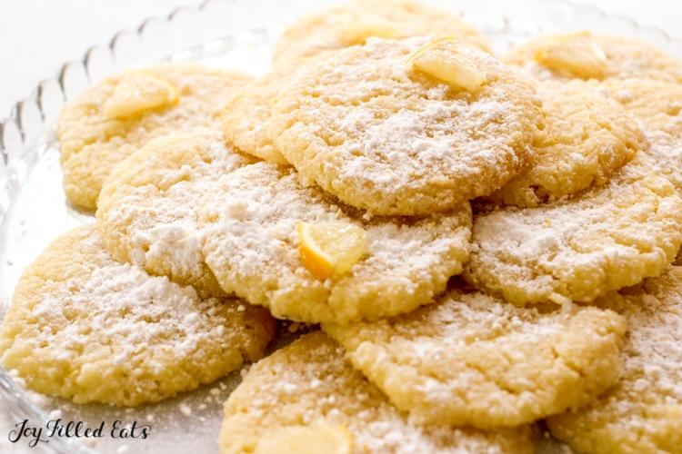 plate of keto lemon cookies with powdered sweetener