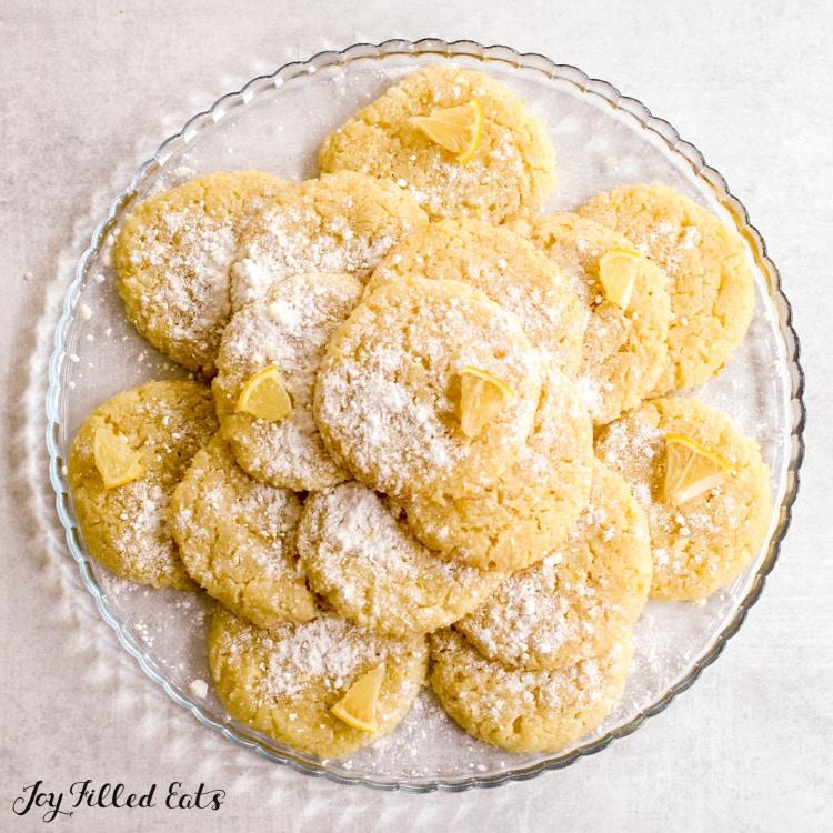 plate of keto lemon cookies
