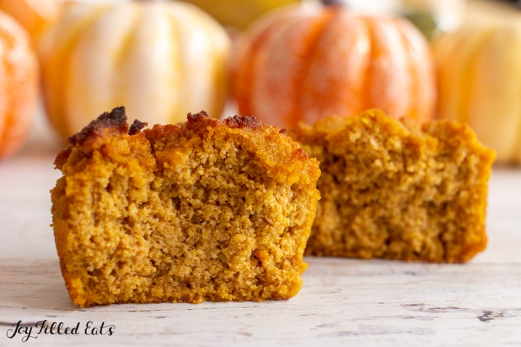 half of one of the keto pumpkin muffins