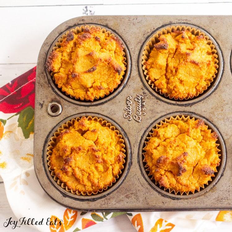 baked keto pumpkin muffins in pan