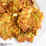 close up of fried keto zucchini fritters