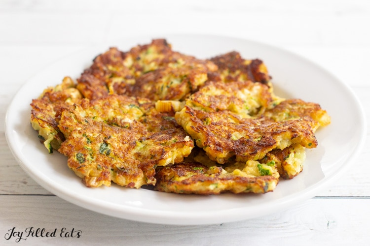 plate of keto zucchini fritters