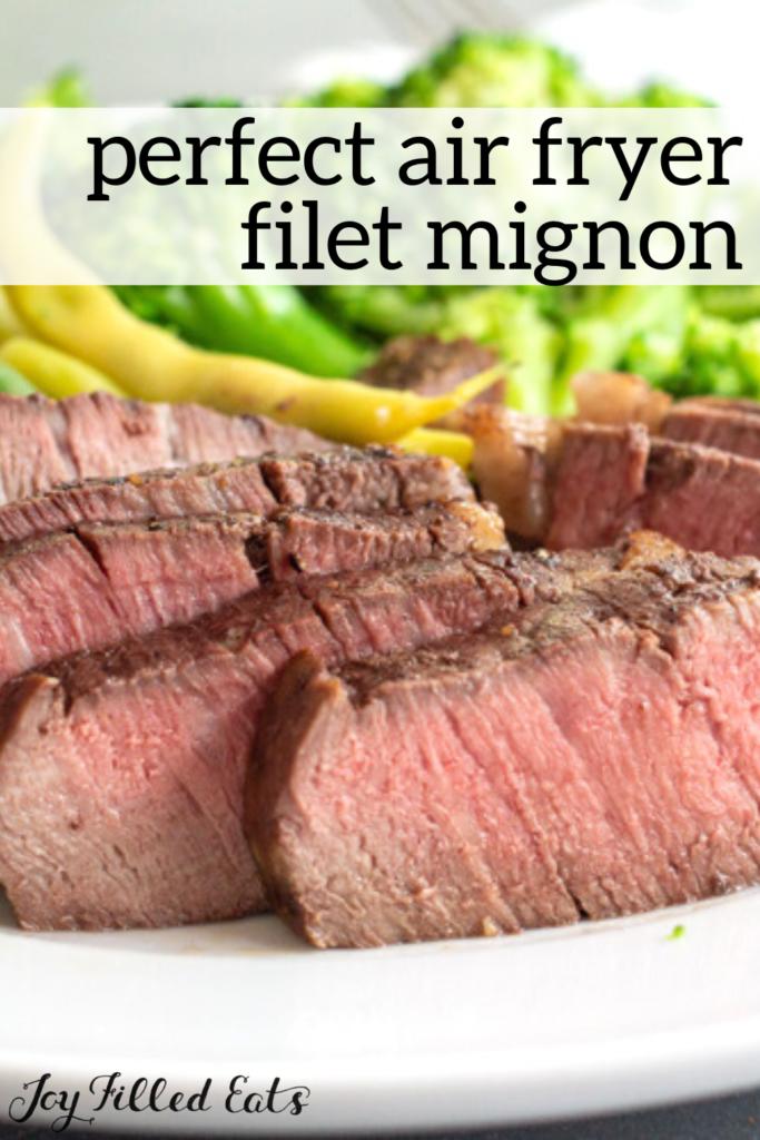 pinterest image for air fryer filet mignon