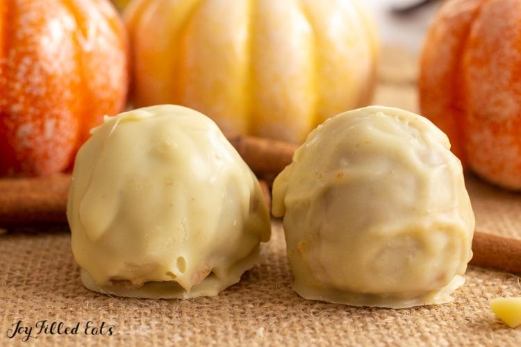 two pumpkin truffles