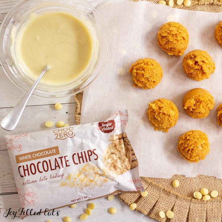 melted white choczero chocolate chips