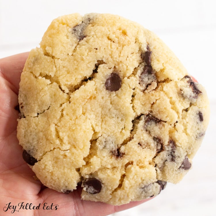hand holding a single serve chocolate chip cookie