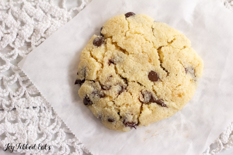 microwave chocolate chip cookie on parchment