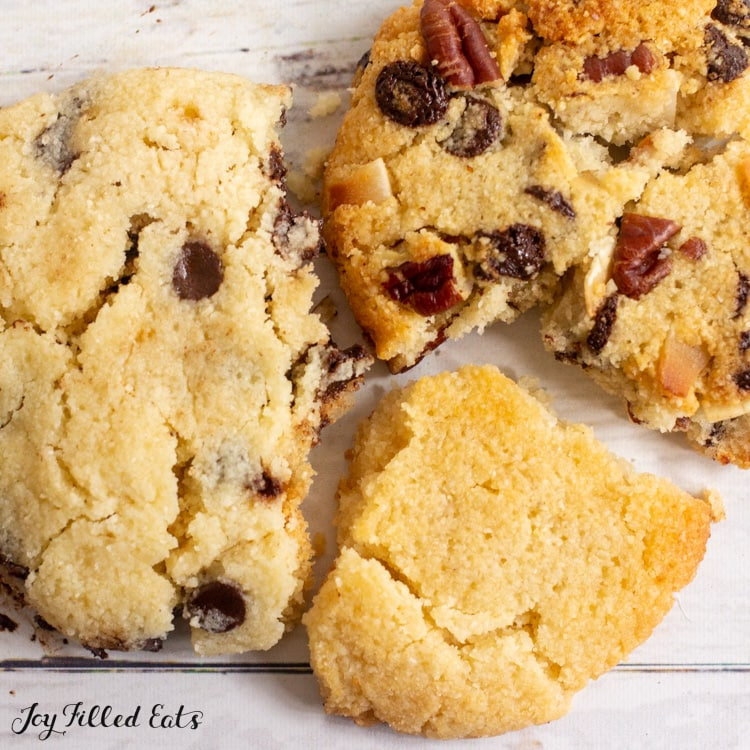 three variations of the single serve cookie close up