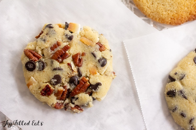 keto cookie with pecans coconut and chocolate chips