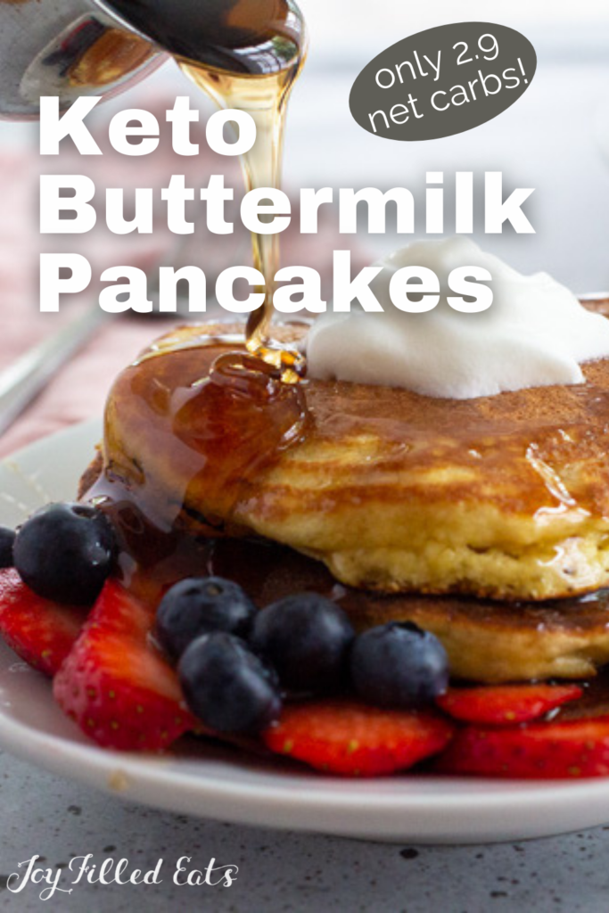 pinterest image for Keto Buttermilk Pancakes