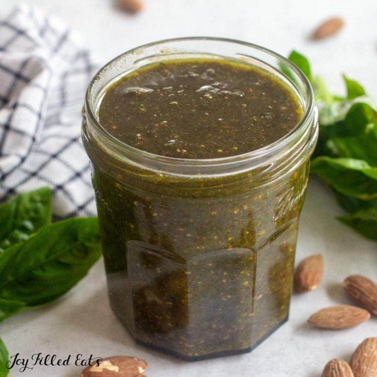 jar of almond pesto sauce