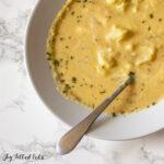 close up of a bowl of keto cauliflower soup