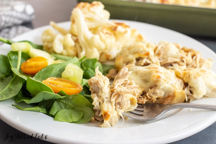 low carb chicken casserole with a bite on a fork