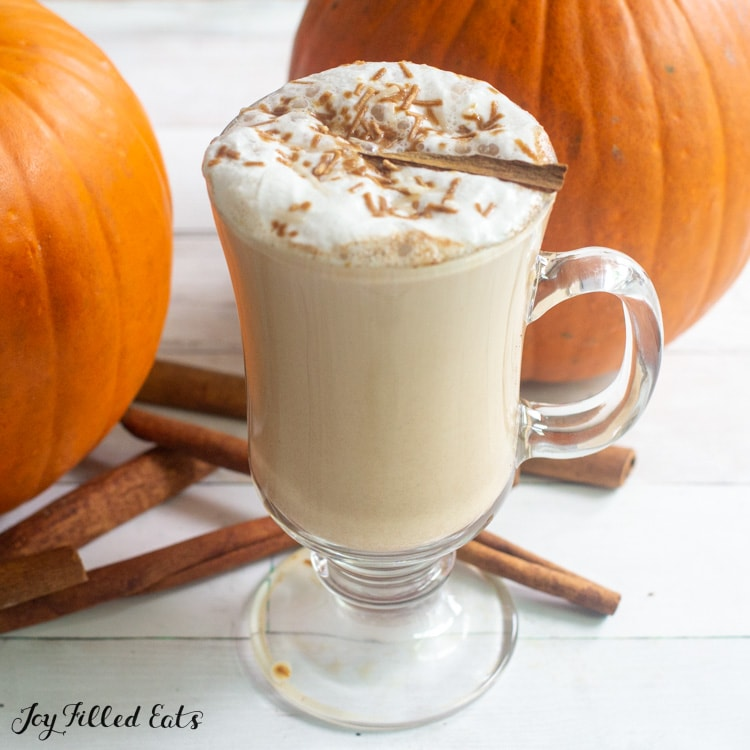 glass with handle full of keto pumpkin spice latte
