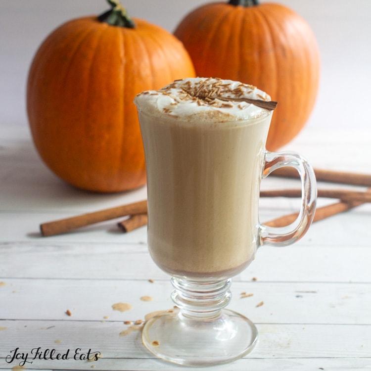 glass full of homemade sugar free pumpkin latte