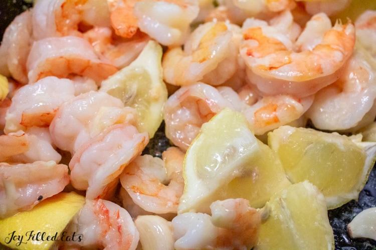 cooked shrimp in baking pan
