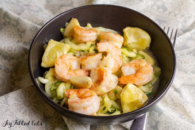 side view of a bowl with low carb shrimp scampi