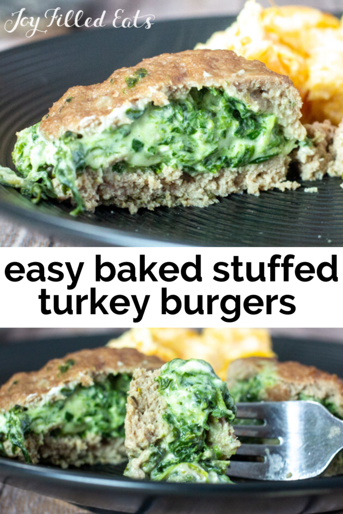 pinterest image for stuffed turkey burgers with spinach & three cheeses