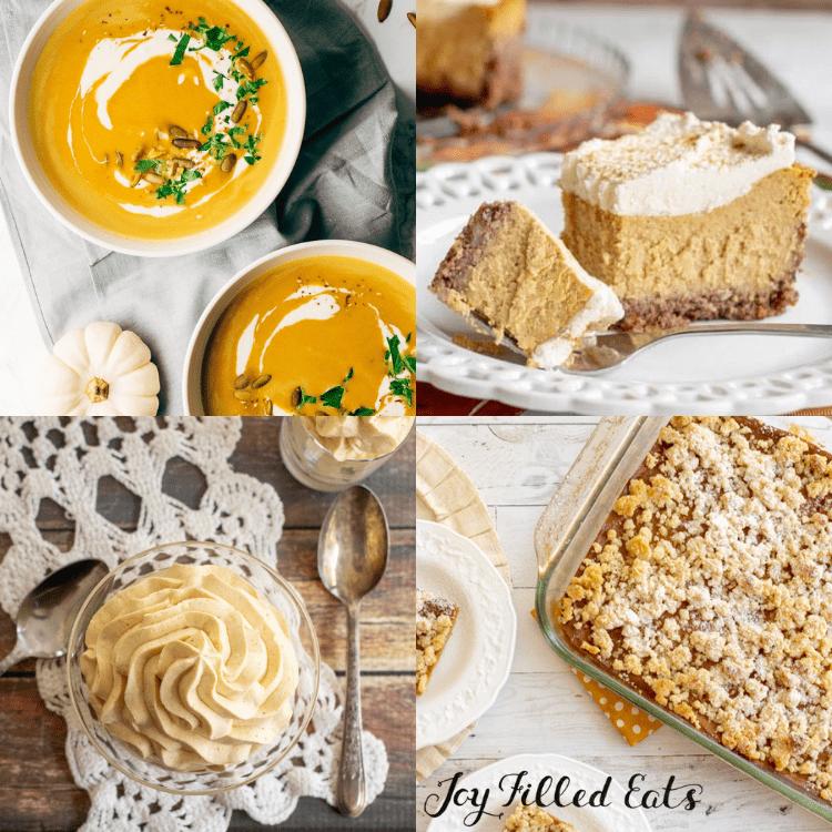 collage of keto pumpkin recipes