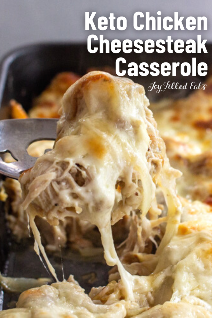 pinterest image for Keto Philly Cheesesteak Casserole (1)