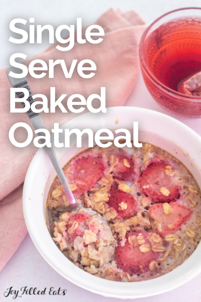 pinterest image for single serve baked oatmeal